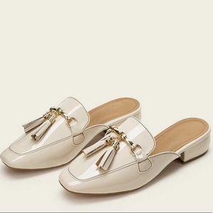 Cream Flat Mules